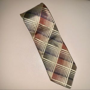 Kenneth Cole green and gold silk tie